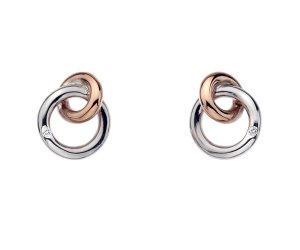 Ezüst fülbevaló Hot Diamonds Eternity Interlocking Rose Gold Stud DE309