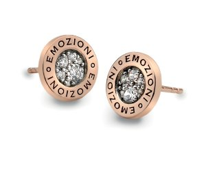 Ezüst fülbevaló Hot Diamonds Emozioni Pianeta Rose Gold DE403