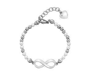 Ezüst karkötő Hot Diamonds Infinity Bead Pearl DL529